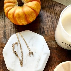 Gold Plated Dainty Horn Crescent Moon Necklace